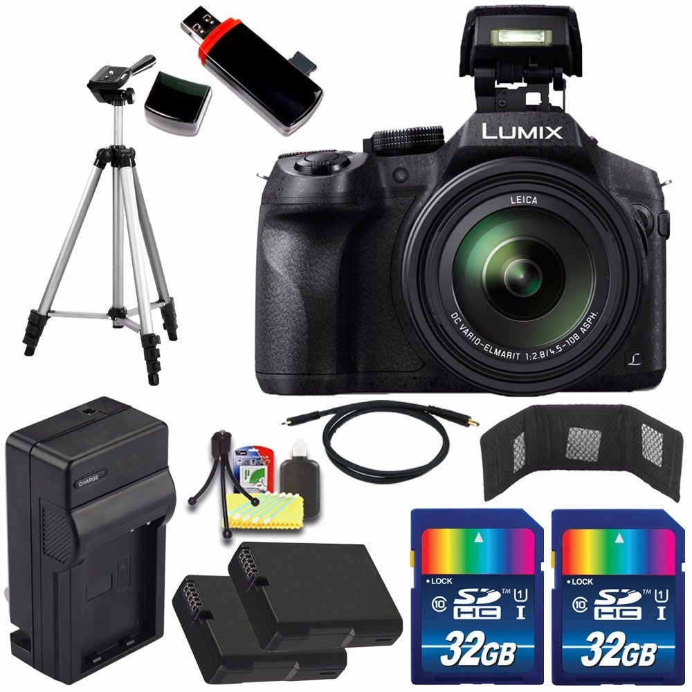 Panasonic Lumix DMC-FZ300 Digital Camera + Extra battery + Charger + 32GB Card + HDMI Cable + Tripod + USB Card Reader + Memory Card Wallet + Deluxe Accessory Kit Bundle