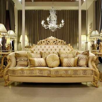 Baroque Imperial Living Room Wooden Carving Antique Gold Frame Fabric Sofa  Set With Back Cushion Buttoned Design - Buy Furniture Living Room Sofa ...