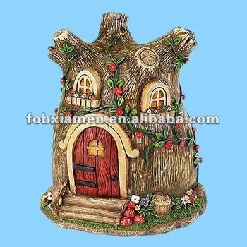 decorative artificial fairy house polyresin tree stump