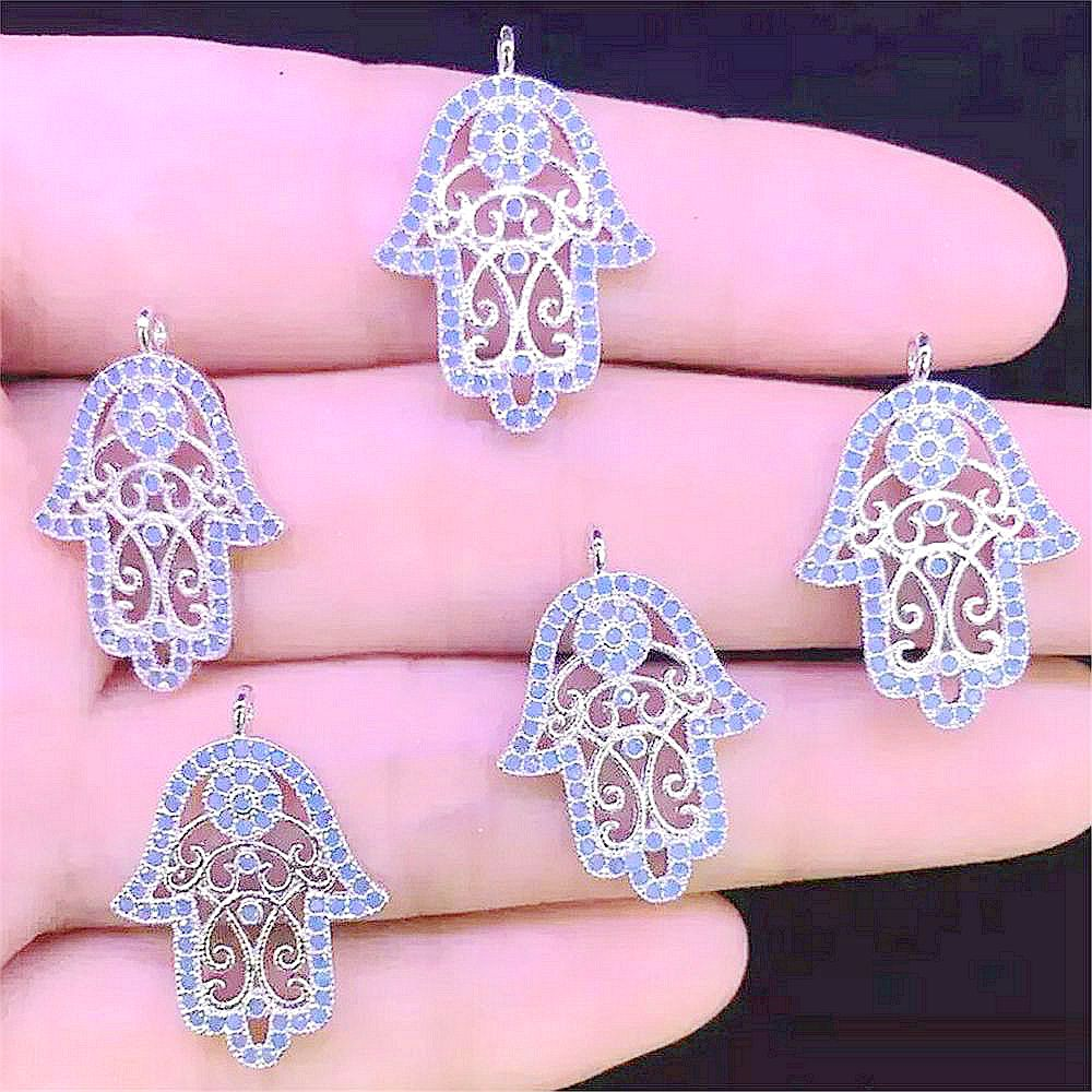 New Hot Fatima's Hand Charm Cz Pave Connector Crystal Hasma jewelry accessory