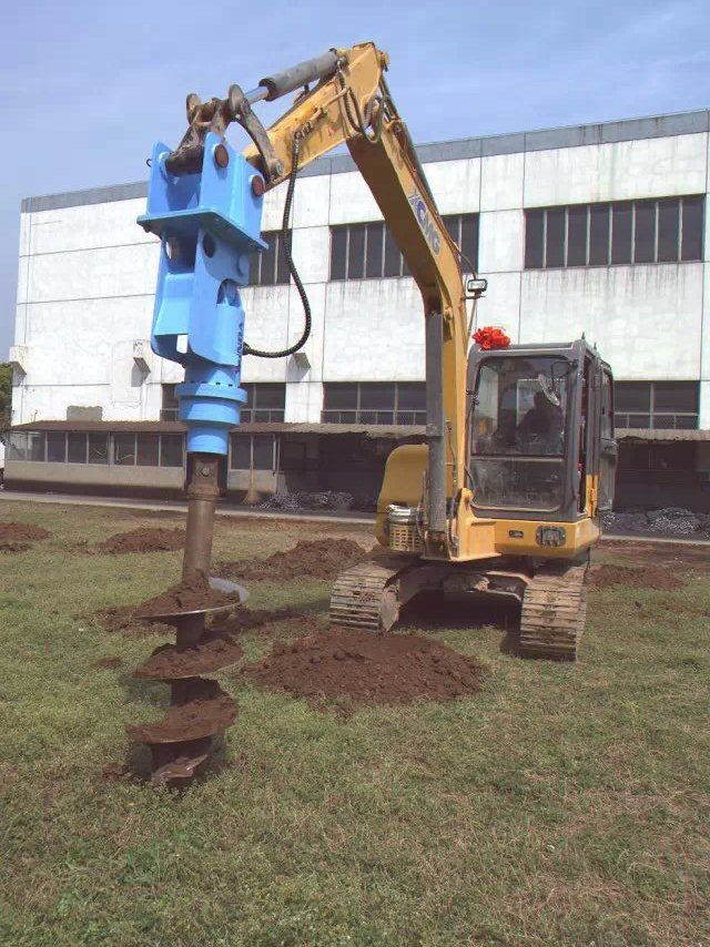 Excavator attachments ground hole drilling earth auger for Hydraulic auger motor for sale