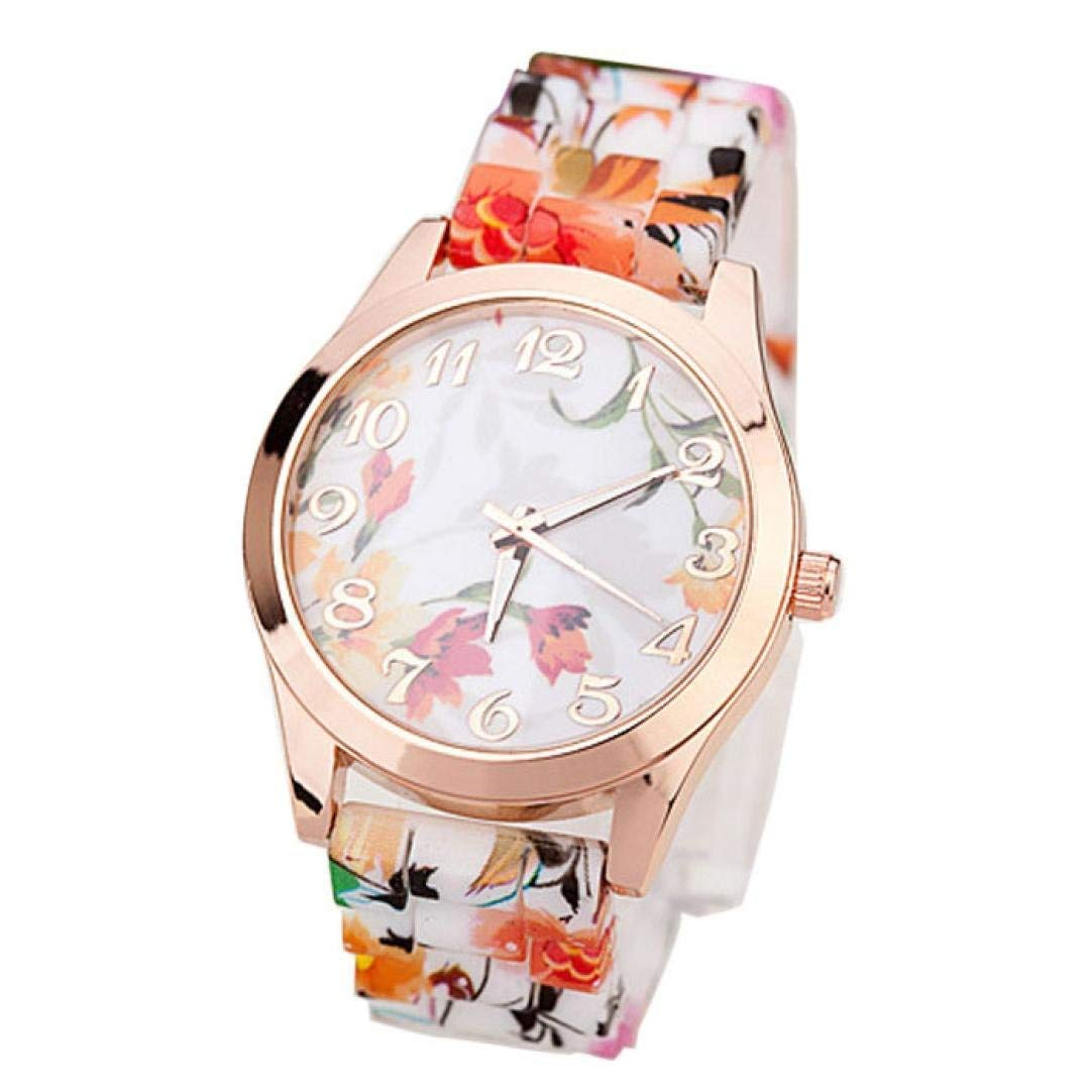 Clearance Watch Daoroka Fashion Women Girl Watch Silicone Printed Flower Causal Quartz Wrist Watches Jewelry Gift