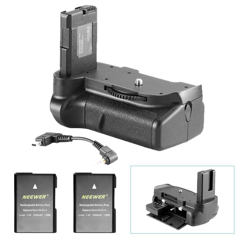 Neewer® Pro (Pro Version of Neewer Product) Battery Grip Works with EN-EL14 Batteries + 2 Pieces Replacement EN-EL14 Battery 7.4V 1200mAh for Nikon D5100 5200 D5300 DSLR Camera