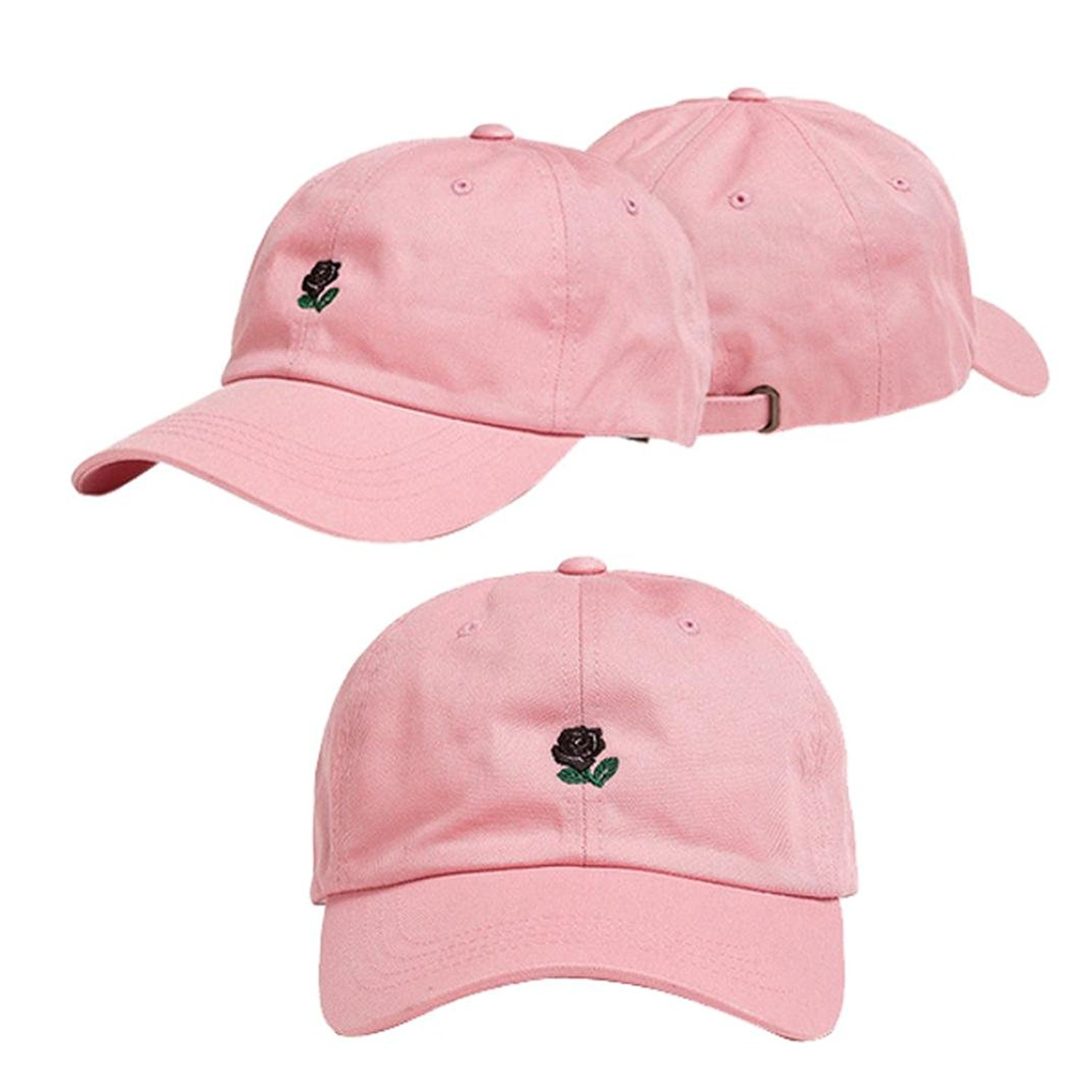 Funic Clearance Sale Rose Embroidery Cotton Baseball Cap Boys Girls Snapback Hip Hop Flat Hat