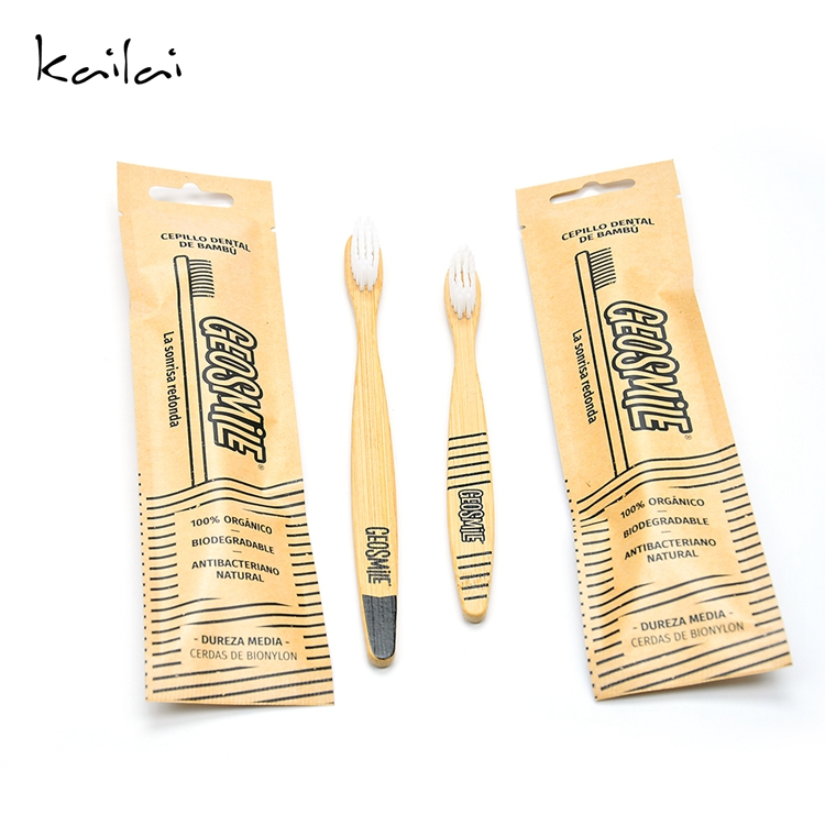 Environmental 100% eco-friendly disposable travel bamboo toothbrush