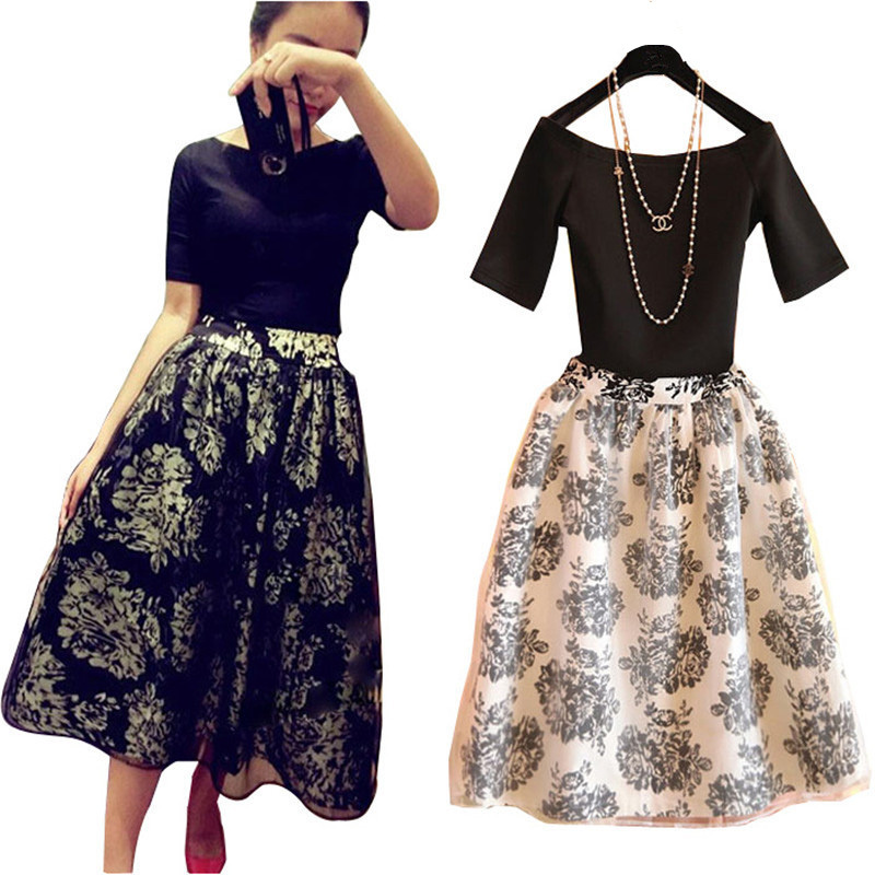 a7dbded13aa Buy Summer Style Print Crop Top And Skirt Set 2015 Brand Short-Sleeve T  Shirt Women Tops Long Skirt 2 Piece Set Women Plus Size S-XL in Cheap Price  on ...