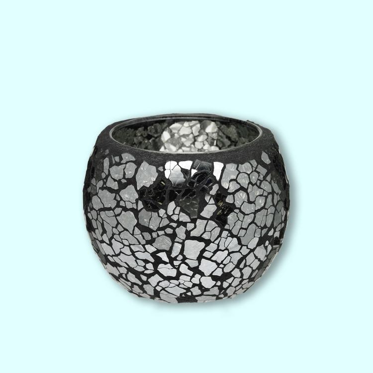 Popular forma de flor diseño reconstruido decoración del hogar color amarillo sostenedor de vela de mosaico de vidrio hecho a mano con base