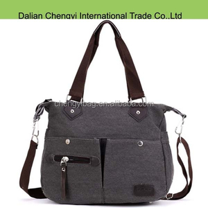 Fashion casual unisex canvas tote bags with shoulder strap