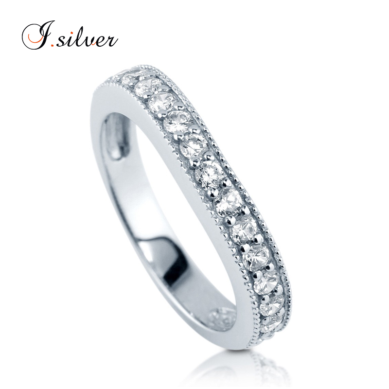 Wholesale 925 sterling moroccan silver CZ curved half eternity ring jewelry R500196