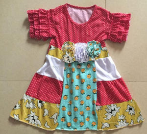 2016 summer new baby girls boutique cotton romper wholesale kids dress