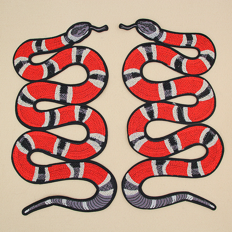 GUGUTREE iron on big snake patches,embroidery snakes applique for jackets,back badges