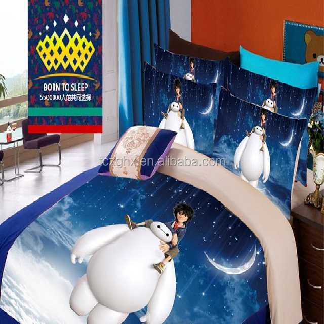 100% polyester microfiber 3D cartoon disperse printed home textile fabric for bedding