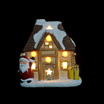 ceramic house shaped christmas village sets decorations with led lights - Christmas Village Decorations