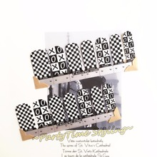 Black White Lattice Nail Arts Nail Sticker Waterproof Nail Decal Art Sticker Gel Polish French Manicure
