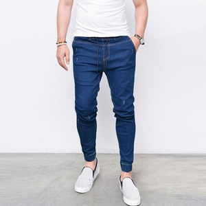 2019 Mens Fashion Pants Blue Cotton Slim Casual Jeans