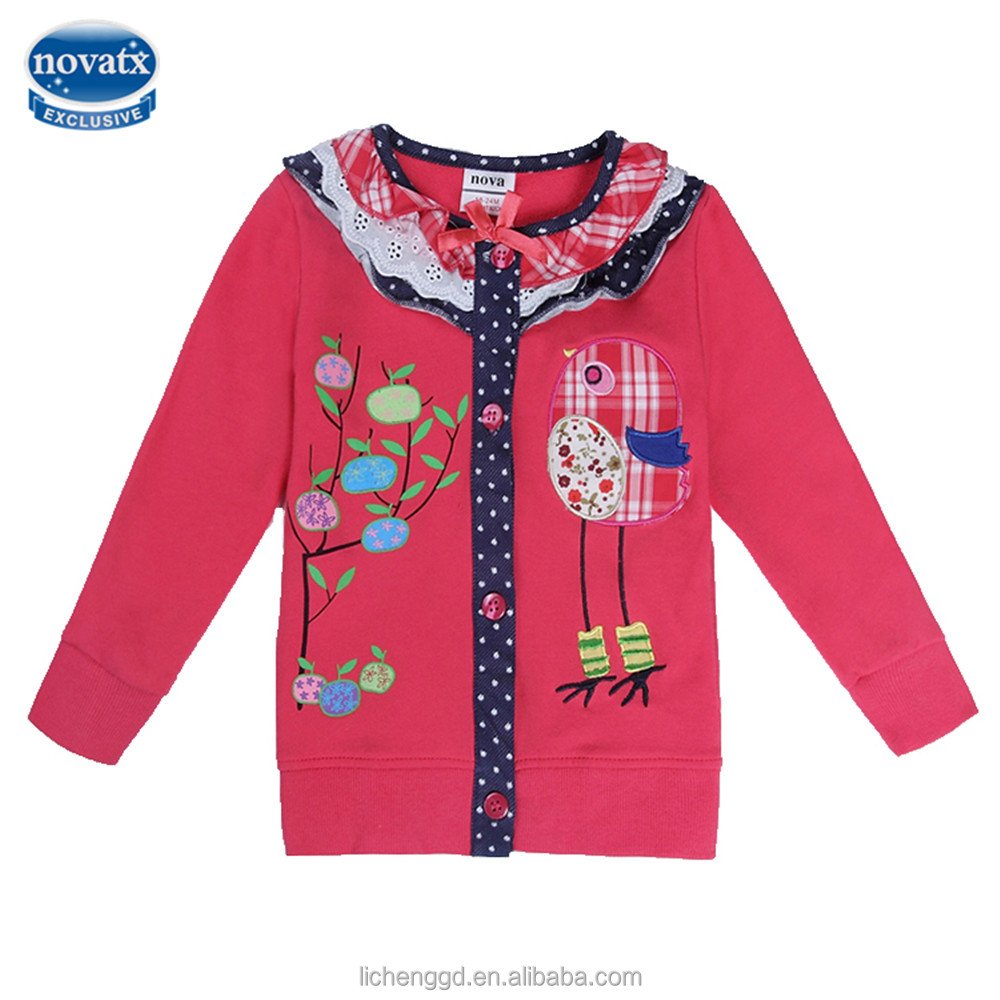 (F5406) new hot sale nova kids wear girls lovely neck designs for tops sweater toddler girls flower jackets for autumn/spring