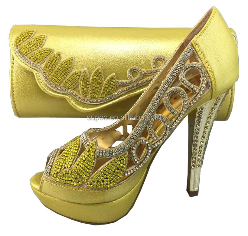 High Quality Las Matching Shoes And Bags Set African Y Heel Beautiful Design 12cm