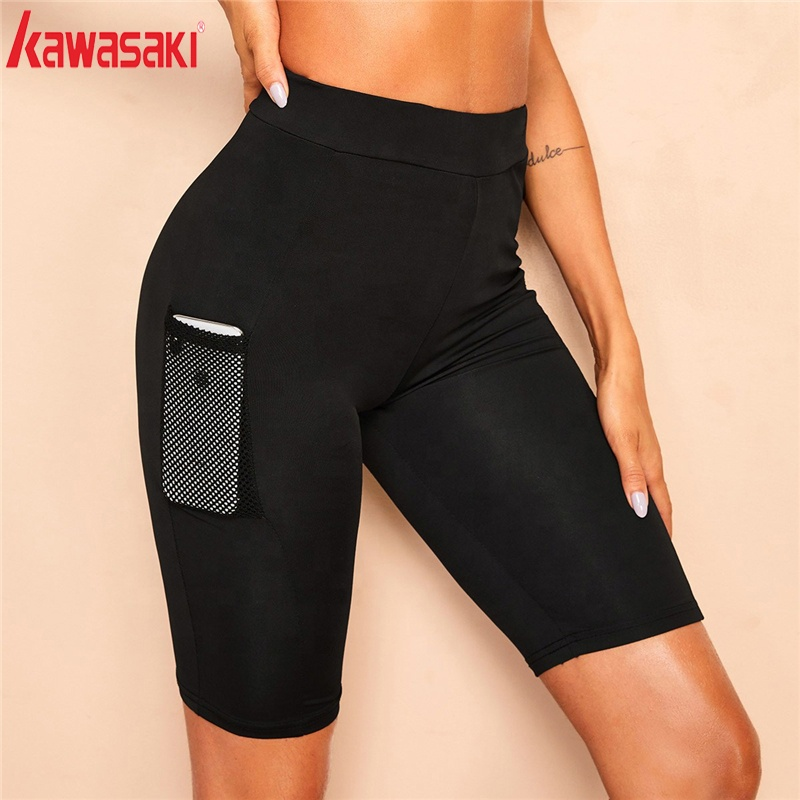 Hot Selling Cheap Plain Color Fitness Women Yoga Short With Pocket фото