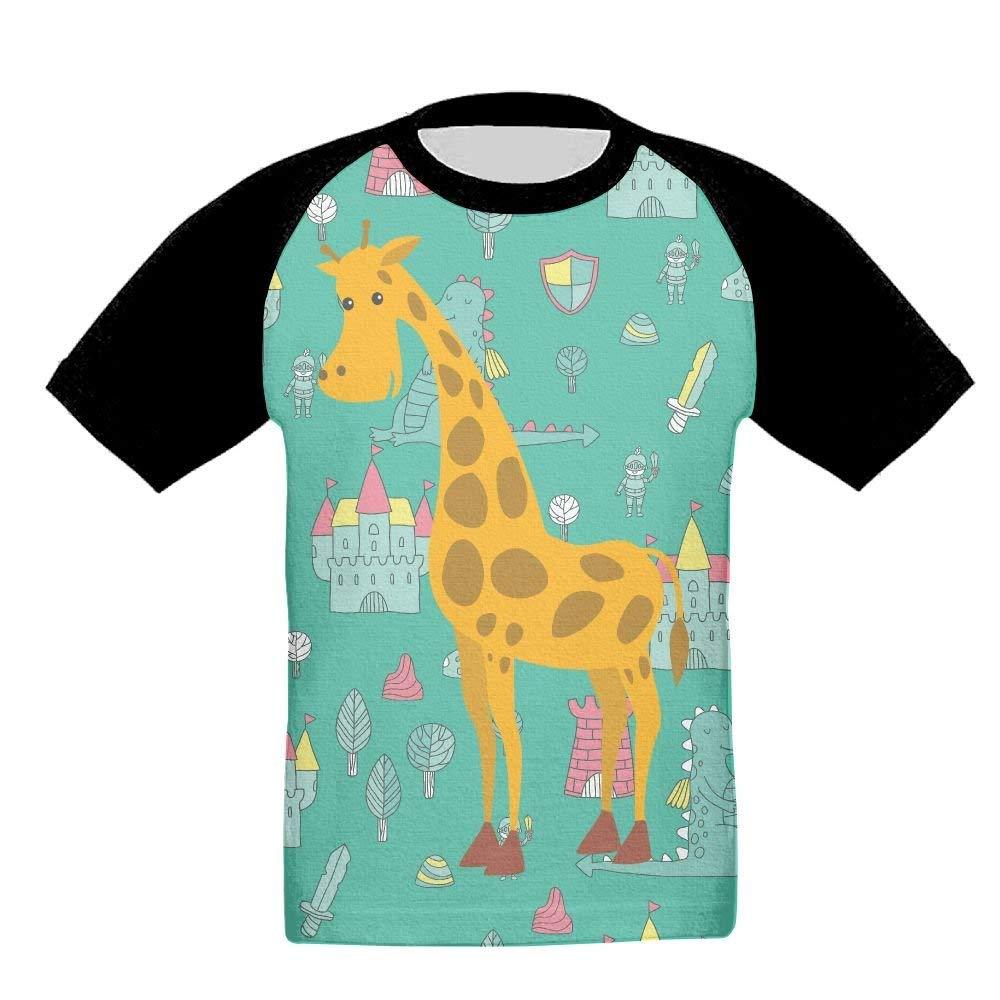 18dec94e Get Quotations · RT756 TEE Giraffe Apron Girl's Kid Kids 3D Print Athletic  Short Sleeve Shirt