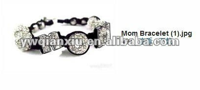 "Hot Selling Letters ""M,O,M"" Beads macrame diamond Bracelet 2012"
