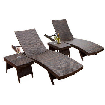 Outdoor Rattan Garden Folding Lying Bed For Sunbath Beach Chairs With Tea Table Furniture