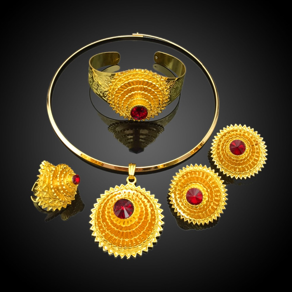 New Design 18 Carat Gold Jewelry Sets Manufacturer African Cheap
