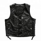 P18E117BE men punk sheep leather motorcycle biker vest with metal chain