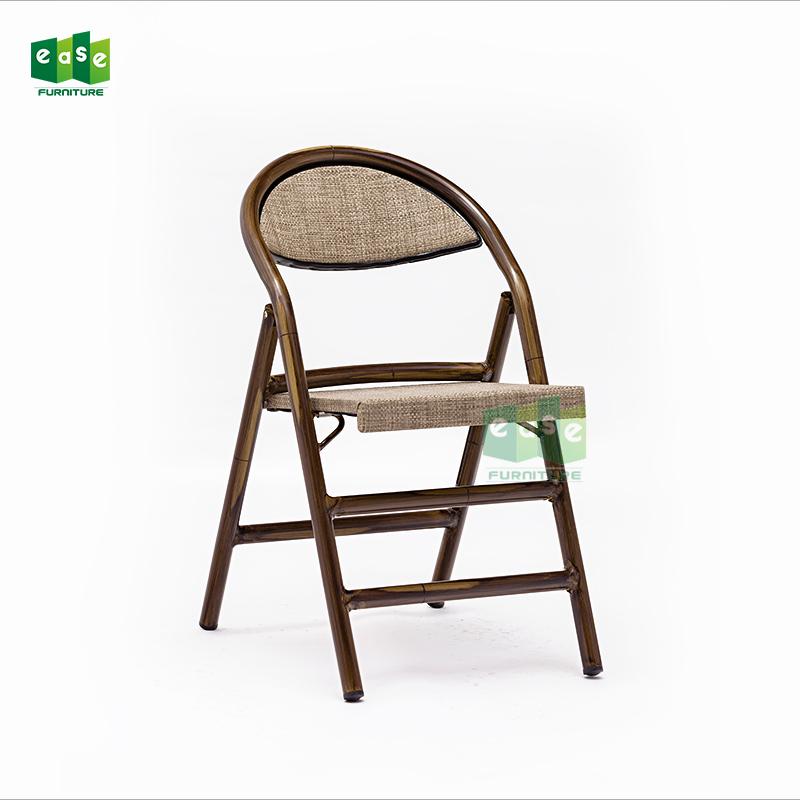 Portable wooden color outdoor bamboo look folding textilener fabric chair-E7022