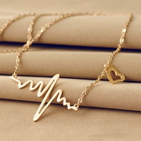 ECG pendant necklace Female love heart-shaped titanium steel 18K rose gold color gold jewelry pendant