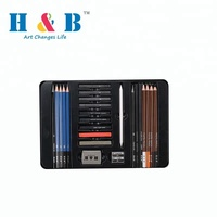 24PCS artist sketch pastel pencil drawing art set with tin box