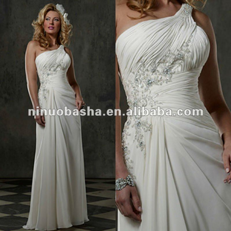 One shoulder ruched bodice beaded appliques on strap wedding dress
