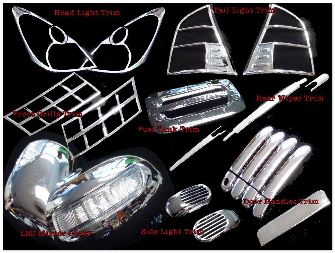 For Nissan Grand Livina 06–13 Trim Set Head Tail Side Light Door Handle Grill Led Mirror Wiper Fuel Tank Cover Chrome Trim Abs Plastic Chromed Overlay Bezel [23 Pc Set] SKU#3380-1-2-3-5-6-7-8715-BX