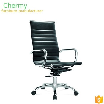 Hot sale cheap price Italian genuine black leather executive office reclining chair