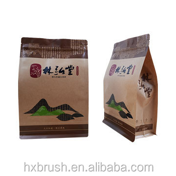 Resealable stand up pouch /Heat Sealing small proof Flat Bottom Kraft Paper Valve Coffee Bag