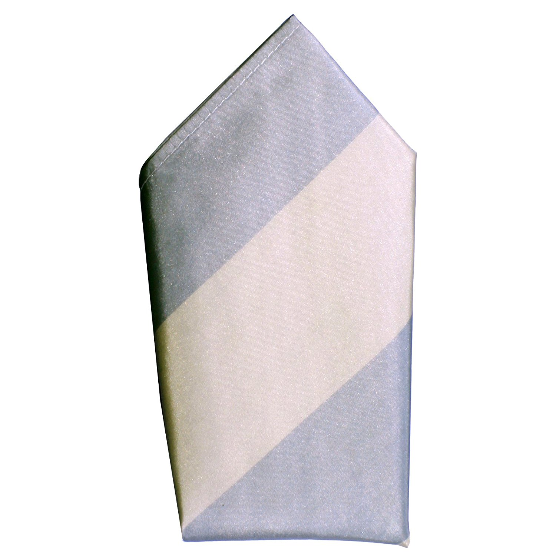 Wide Taupe Grey Stripes Taffeta Silk Pocket Square by ROYAL SILK