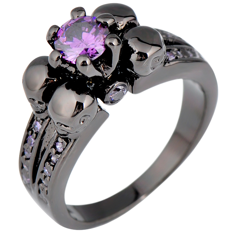 wedding p diamond stone rings classic gold violet product three purple ring engagement solitaire black