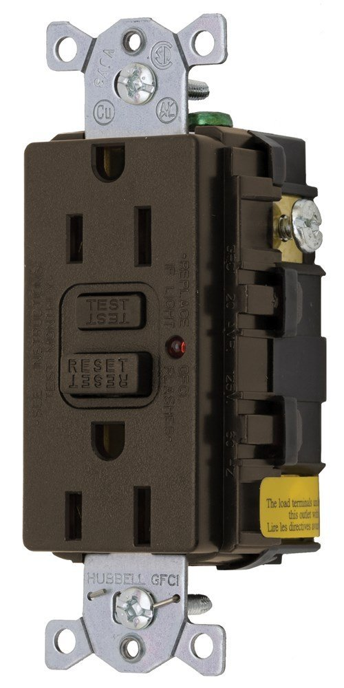 Hubbell Wiring Systems GF15LA Power Protection Products, Receptacles, GFCI, Commercial/Industrial Grade, 15 Amp, 125V, 2-Pole 3-Wire Grounding, 5-15R, LED Indicator, Brown