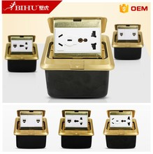 BIHU 250V Pop-up Floor Plate Ground Outlet Socket Duplex Power Receptacle for Home