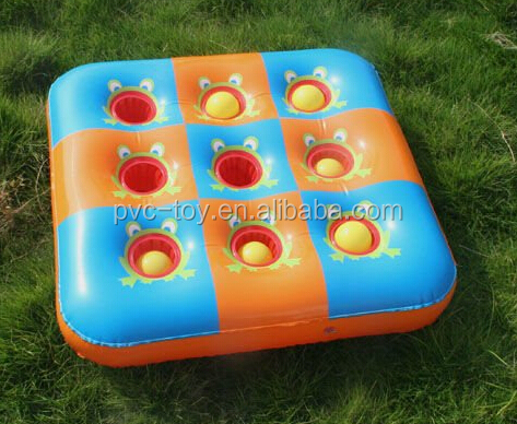 Inflatable 3 In-A-Row Game inflatable game player plastic plate with cup holder