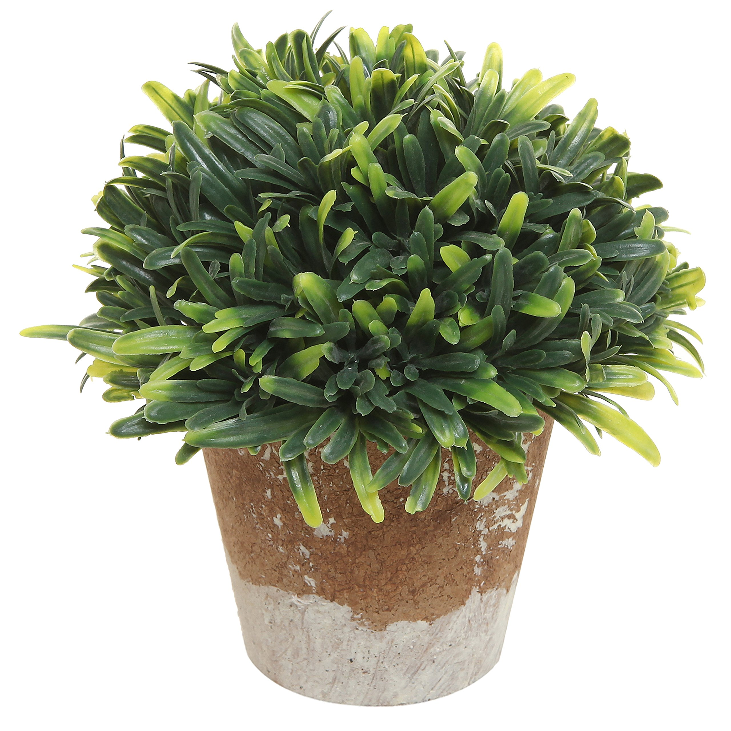 Decorative Green Plastic Artificial Plant w/Rustic Style Brown Ceramic Planter Pot Container - MyGift