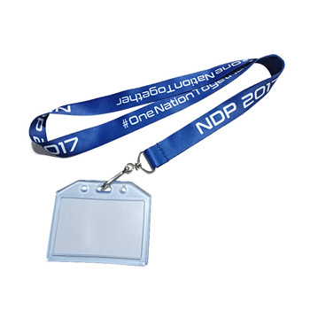 pvc id card holder lanyard with safty buckle j hook
