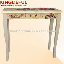 Spring Bouquet Design Decorative Wooden Table