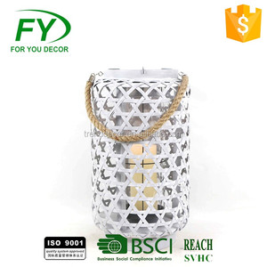 Made in China wholesale marble color Gifts & Decor Contemporary Table Top Metal Candle Holder Lantern for yard decoration
