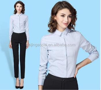 Wholesale hot sales lady long sleeve office white dress shirt woman