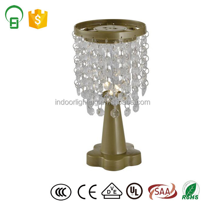 3*AAA battery Crystal Beaded led chandelier table lamp