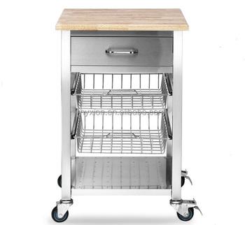 Küchenwagen edelstahl  Edelstahl Küche Wagen Mit Rädern Und Holzplatte - Buy Küche Wagen ...