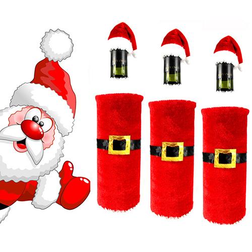 Popular Red Wine Bottle Santa Claus Clothes Cap Suit Cover Christmas Table Home Decor