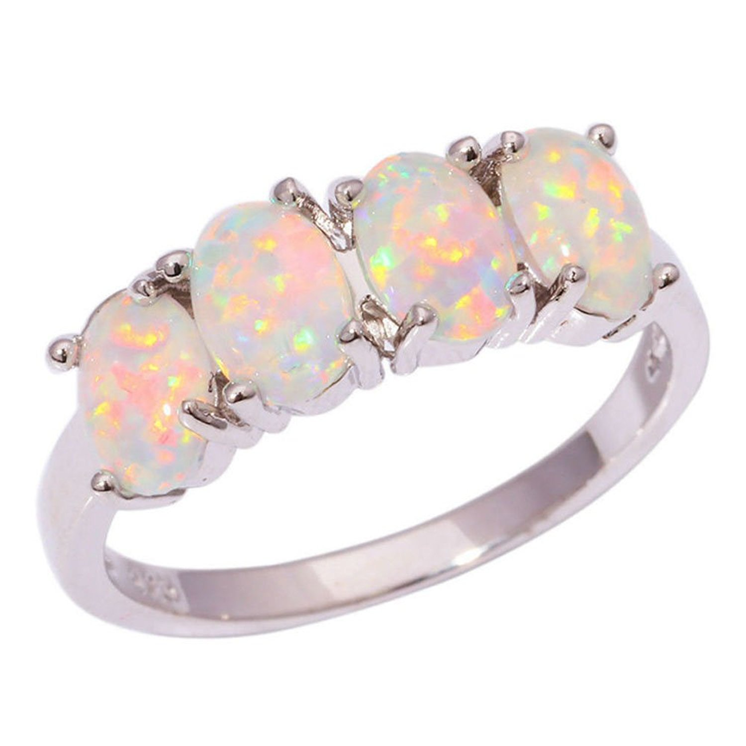 F/&F Ring Fashion White Fire Opal Ring Vintage Jewelry for Women Wedding Engagement Bridal Rings