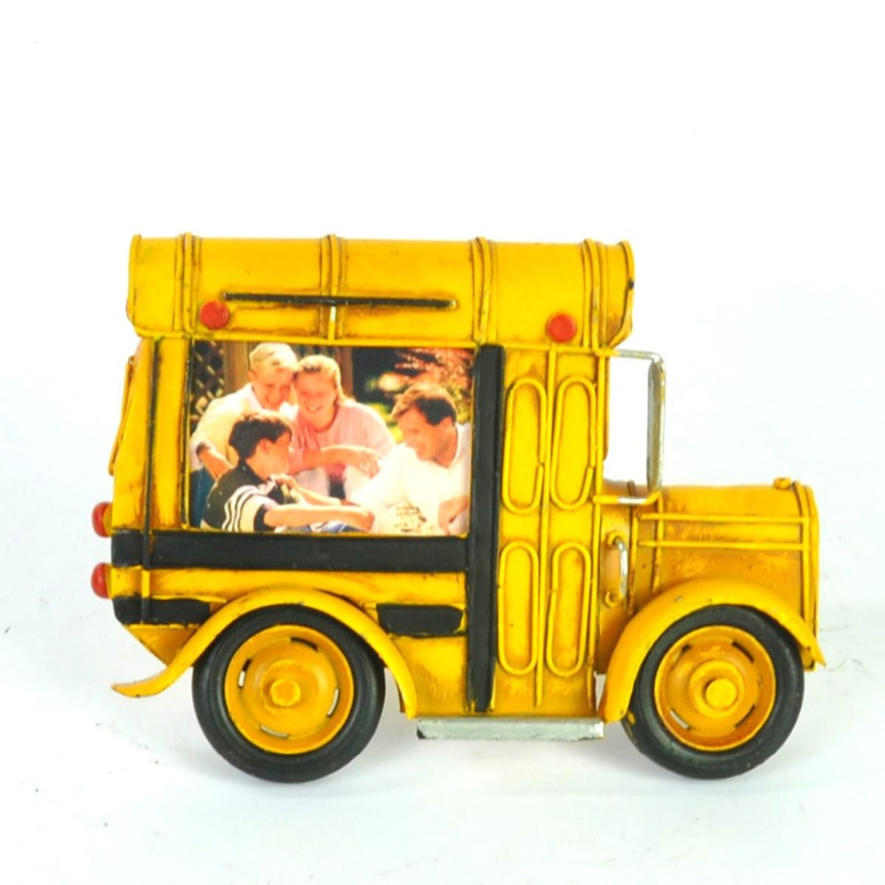Retro Tinplate Metal School Bus Models Collection Classic Handmade Arts And Crafts Bus Vehicle Model metal photo frame