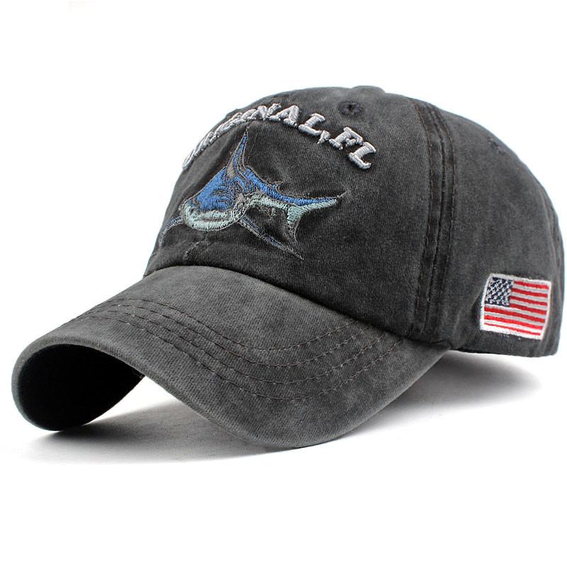 Denim Fabric Adjustable The Shark Vintage Baseball Cap